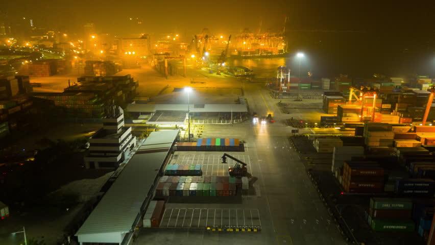 night time illuminated shenzhen city famous working port aerial panorama 4k timelapse china