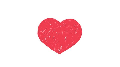 pink heart on white background. hand drawn animation loop