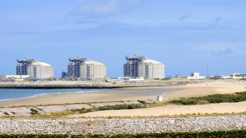 LNG storage tanks in Liquefied Natural Gas Terminal,  Dunkerque, France