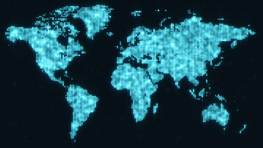 Digital blue world map in flying particles motion graphics digital blue world map in flickering dots motion graphics background for broadcast tv films gumiabroncs Image collections