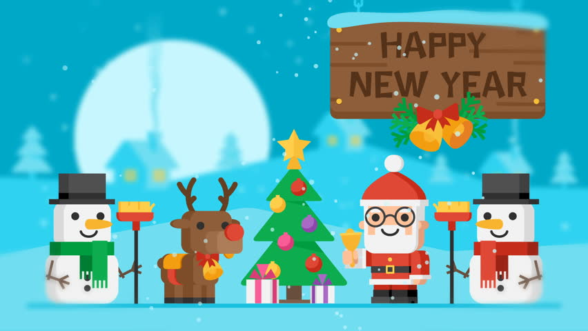 Merry christmas concept santa claus reindeer snowmen and christmas happy new year concept santa claus reindeer snowmen and christmas tree motion graphics video m4hsunfo Images