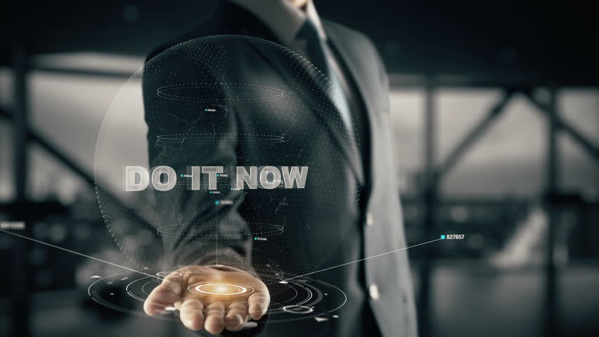Do it now with hologram businessman concept