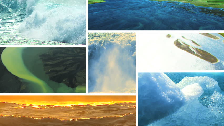 Montage images of unpolluted water power in contrasting global environments
