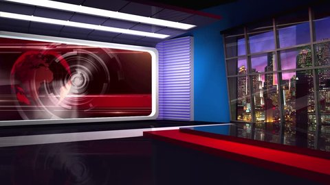 Red colored rotating globe in background window for News best TV Program seamless loopable HD Video
