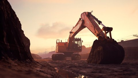 02991 Excavator Machine With Big Shovel On Construction Site Against Dramatic Sky