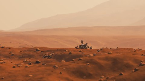 03008 Camera pans showing rover travelling on the marsian surface