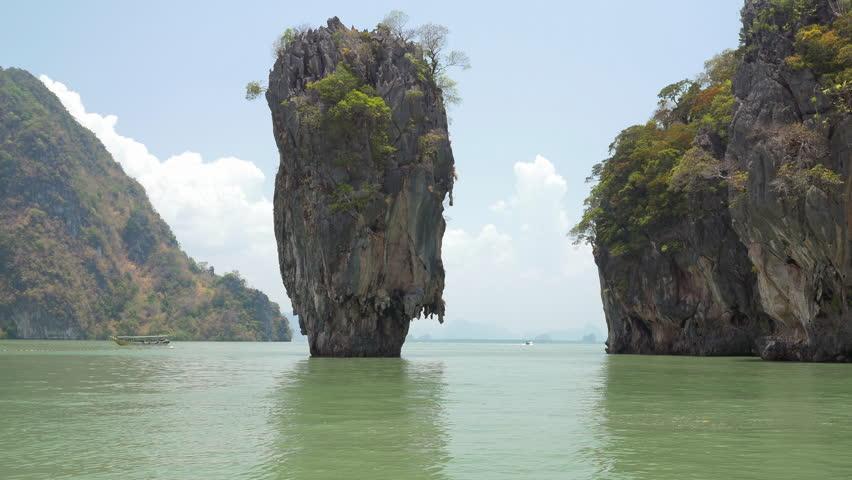 Famous landmark and famous travel destination - James Bond island in the Phang Nga Bay, Thailand.