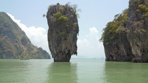 Famous landmark and famous travel destination - James Bond island in the Phang Nga Bay, Thailand.