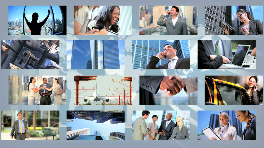 Montage images ambitious young business people CG images modern global communication