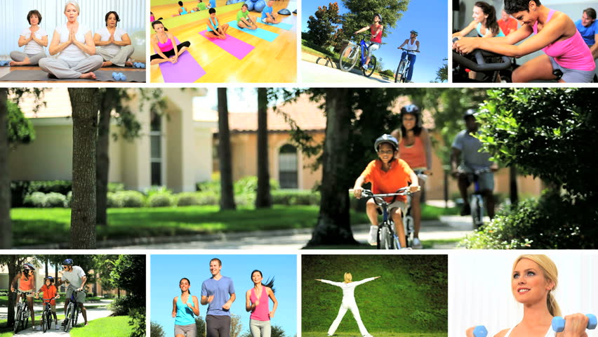 Montage images young people, seniors and families enjoying physical exercise yoga indoors and outdoors   Shutterstock HD Video #3326054