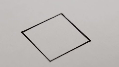Macro footage of check mark on white background