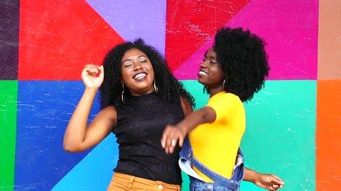 Playful Young Girls Dancing