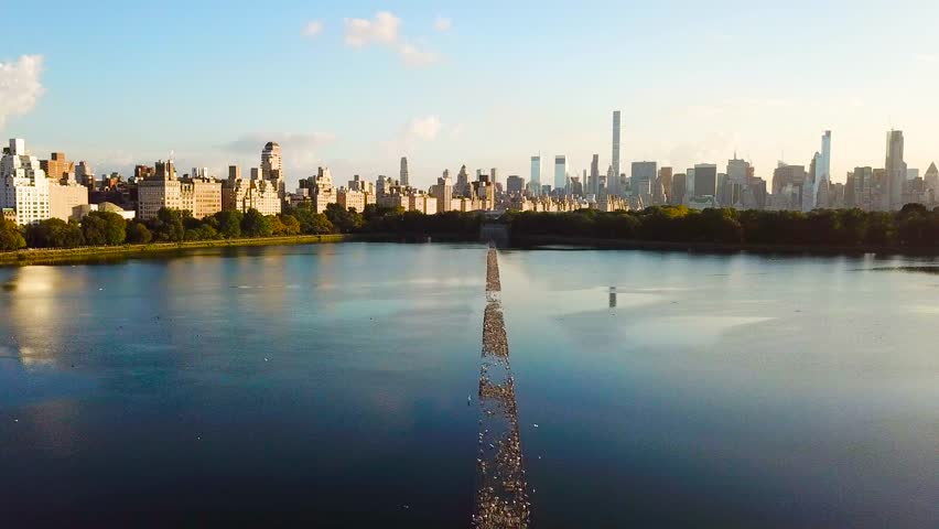 New York cityscape aerial view from the Central park reservoir aerial