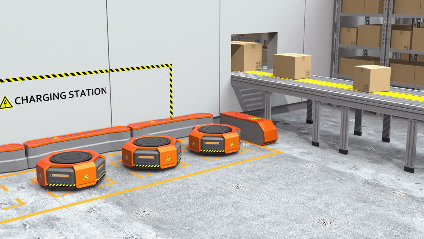 Modern warehouse equipped with robotic arm, drone and robot carriers. Modern delivery center concept. 3D rendering animation.