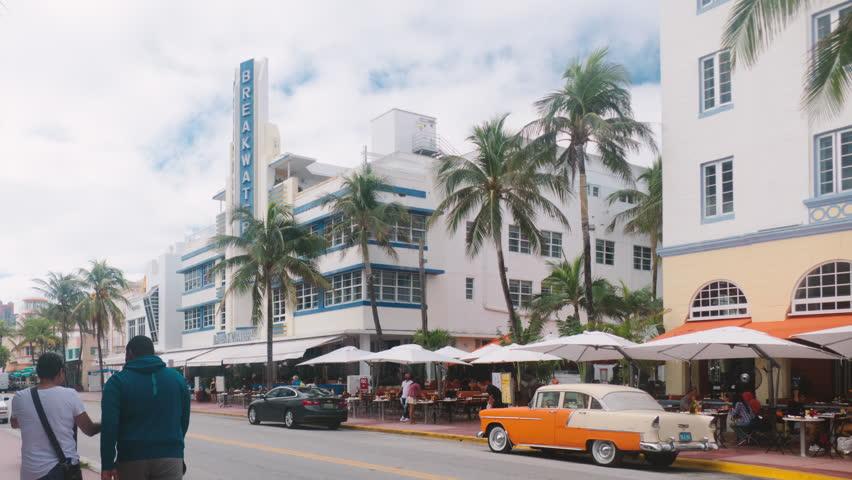 MIAMI, FL - NOV 27: (Timelapse) South Beach Miami, Florida. Busy Ocean Drive traffic on November 27, 2017.
