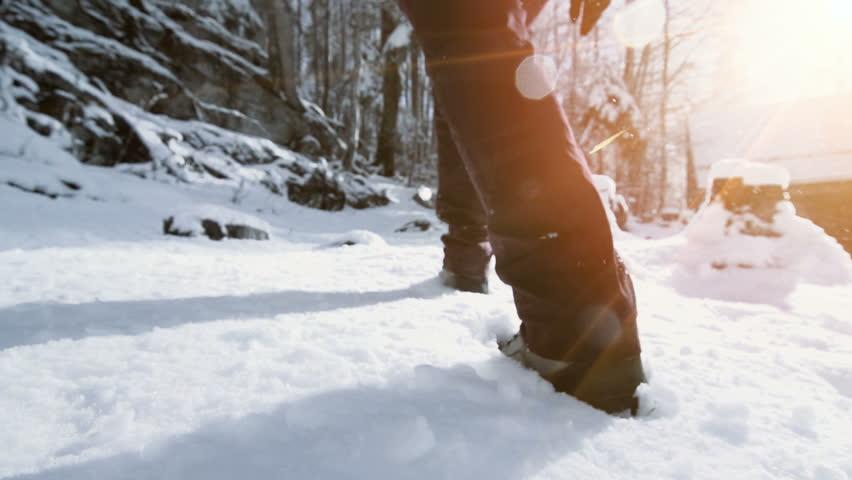 snow hiking walking foot steps feet #33329215