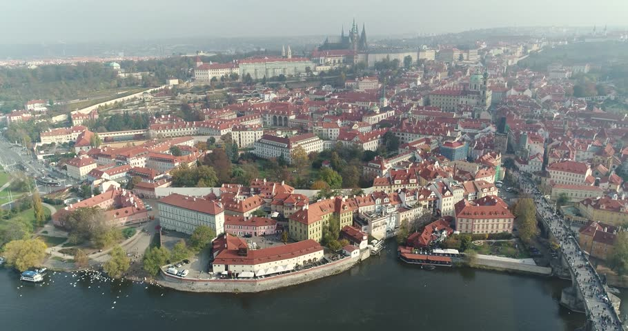 Panoramic view from above on the Charles Bridge over the river in Prague, aerial of the city, view from above on the cityscape of Prague, flight over the city, top view of Charles Bridge, Vltava River | Shutterstock HD Video #33336535