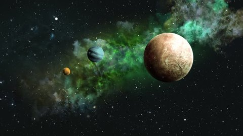 Flying in green space with planet and nebula. Cosmic looped video. Cosmic video with planets
