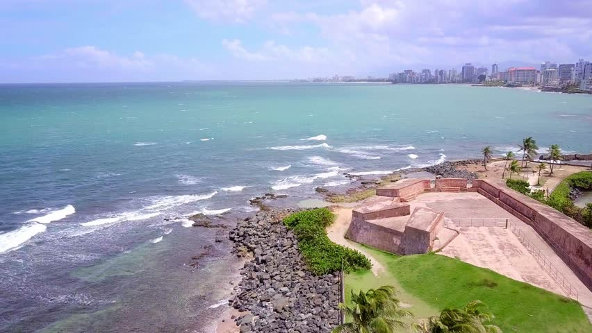 San Juan Puerto Rico.  One of the beautiful forts overlooking the beach