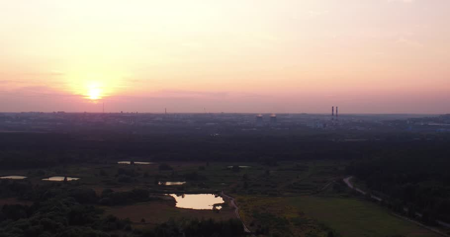 Pink sunset over the city, aerial shot | Shutterstock HD Video #33370225