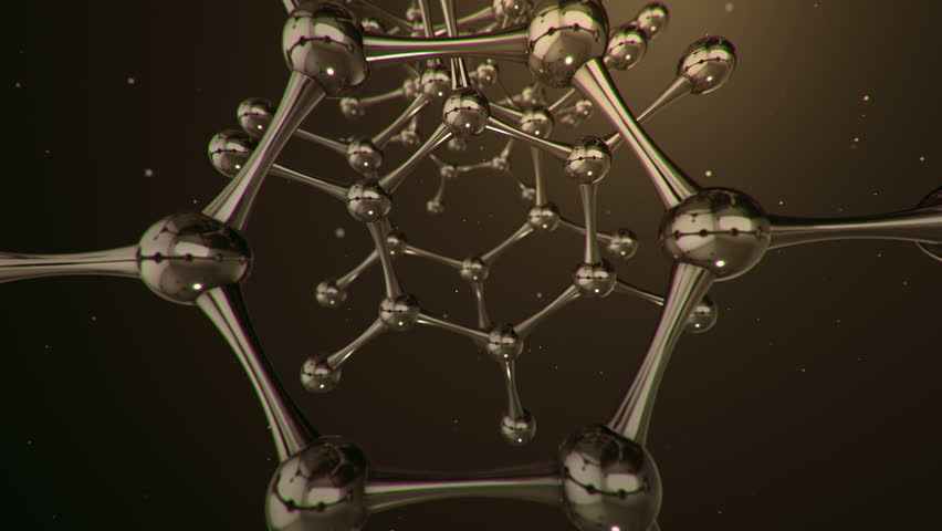 Animation flight inside tunnel from glass and crystal molecules. Animation of seamless loop.