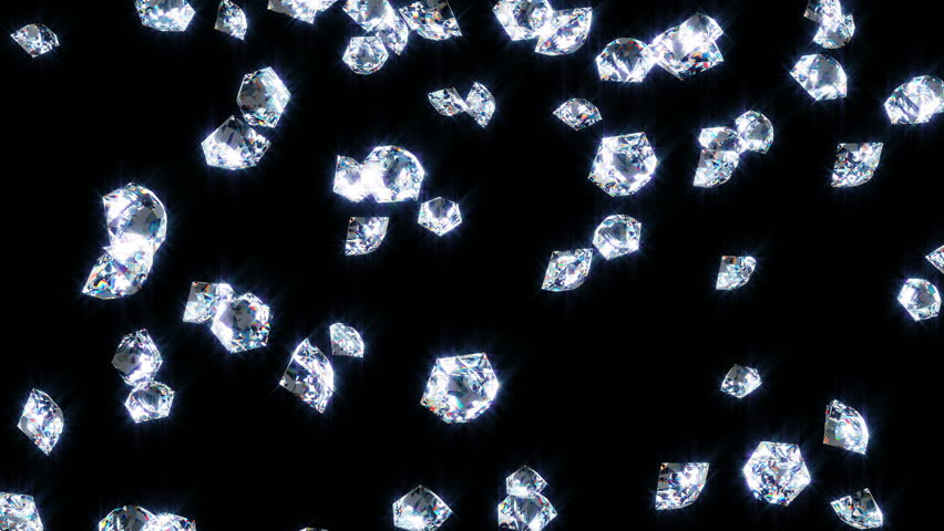 Slowly falling shine diamonds, on black . | Shutterstock HD Video #33394975