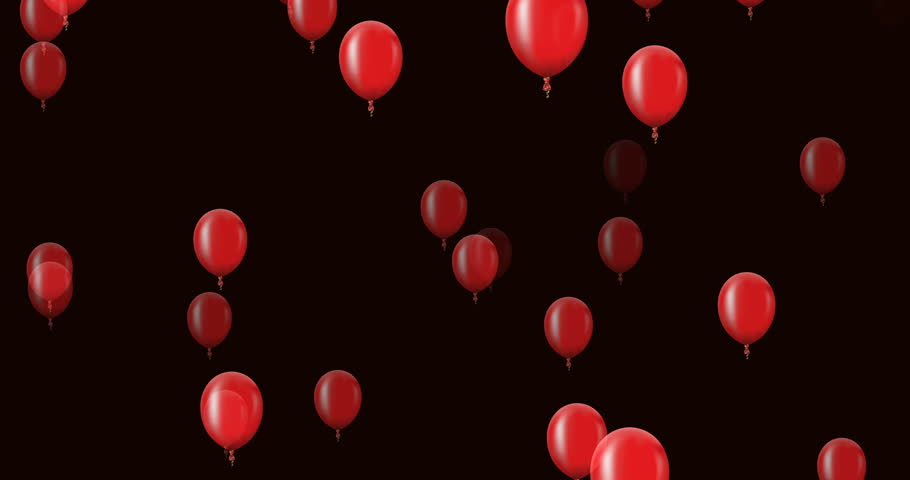 animation flying red balloons on a dark background. Anniversary or happy berthday