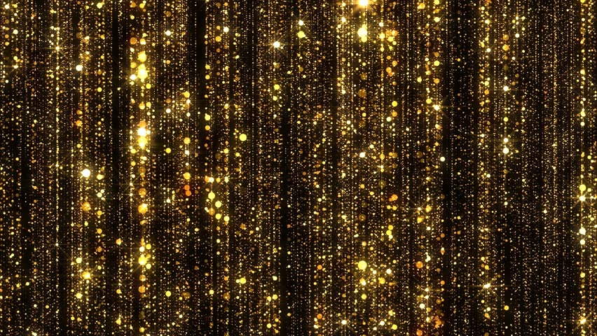 Gold Particles Glitter Glamour Rain 4K Christmas