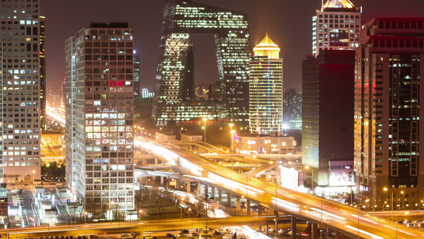 Beijing Central Business District night scene time lapse | Shutterstock HD Video #3345125