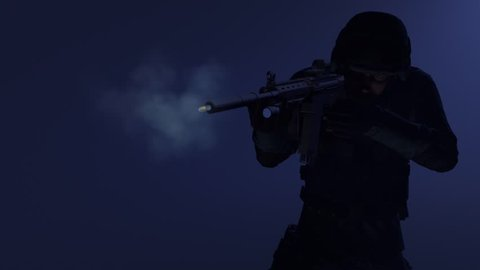 Animation of a swat officer firing and 3D camera following bullet leaving the rifle in super slow motion