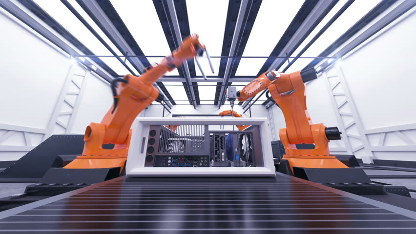 Beautiful Robotic Arms Assembling Computer Cases On Conveyor Belt. Futuristic Advanced Automated Process. 3d Animation. Business, Industrial and Technology Concept. Full HD 1920x1080. #33491245