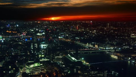 Aerial shot of Central London with view of the River Thames,time lapse, sunset view