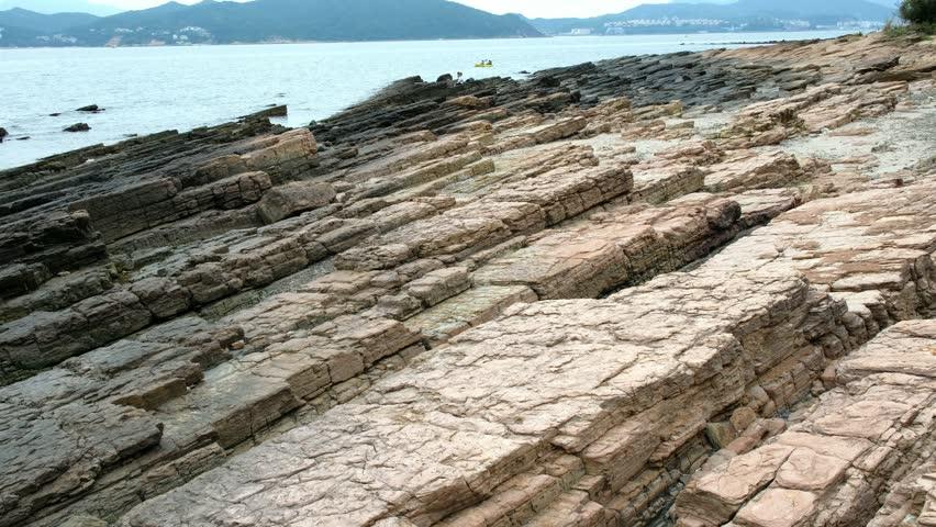 Geopark layers of sedimentary rock, in Tung Ping Chau, Hong Kong