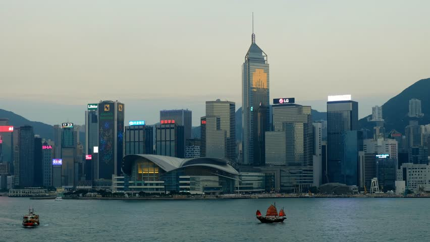 Hong Kong Harbor During Day with Junk boat | Shutterstock HD Video #33591445