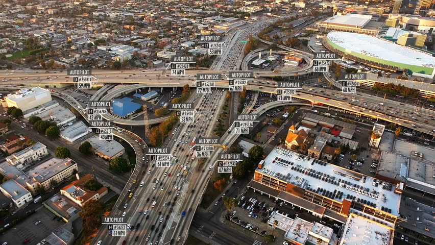 Driverless or autonomous car aerial view. Traffic passing by a highway. Plate number, miles per hour and ID number displaying. Future transportation. Artificial intelligence. Self driving. | Shutterstock HD Video #33601585