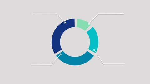 Infographics in blue color. Alpha channel. Motion circle diagram. 4 result box chart. Pie graph in flat style. Shape animation
