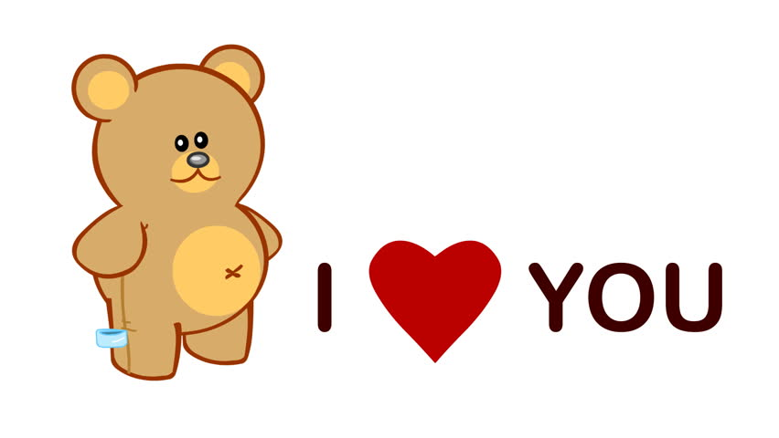 "Cute love video-card with cartoon animation of a teddy bear and ""I love you"" animated message on white background."