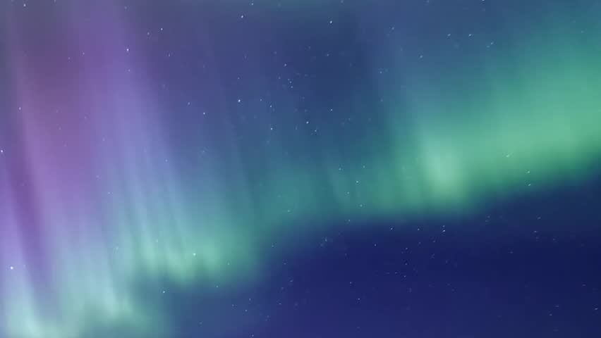Northern Lights on the Arctic sky, aurora borealis, nive clear weather, colour skies in horizon.  Cloudless night. FHD.