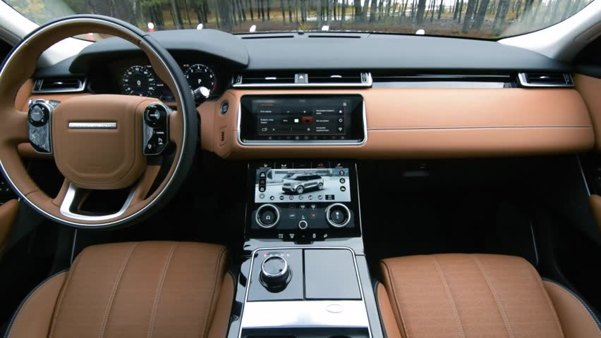 Range Rover Interor >> MINSK, BELARUS - NOVEMBER 15, 2017: Interior Of Range Rover Velar. Interior Features Dual ...