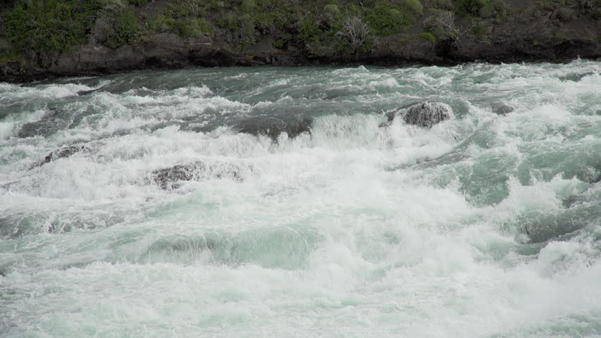 Chile - Torre del Paine National Park Slow Motion Shot of Rushing River Rapids in Patagonian landscape