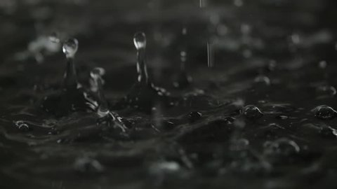 Water drop falling to liquid surface Full HD slow-motion video nature background. Clean rain waterdrop drips and splashing. Black abstract waves and bubbles