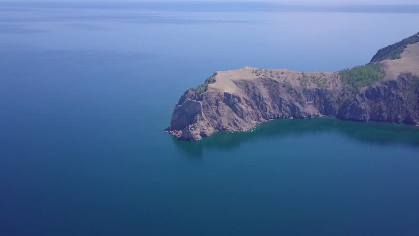 Baikal lake shore and rocks from aerial view. Landscape.