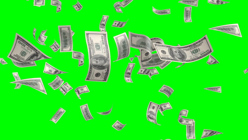Flying banknotes of DOLLARS. Isolated over green alpha | Shutterstock HD Video #3376280