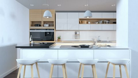 Kitchen with wooden and minimalistic interior design