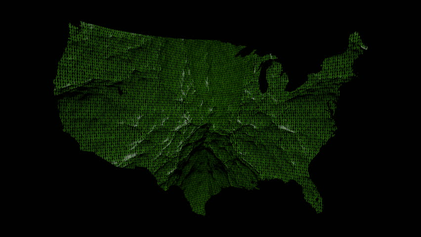 Line Graph With Usa Map And Binary Animation Hd Stock Footage Clip