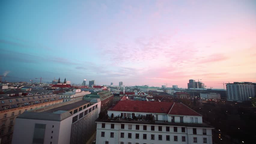Vienna, panoramic view on roofs of buildings, constructions, cranes