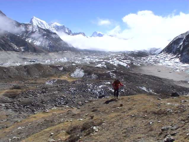 Trekker in the Gokyo valley, Everest region, Nepal.