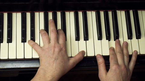 Piano music pianist hands playing. Musical instrument grand piano details