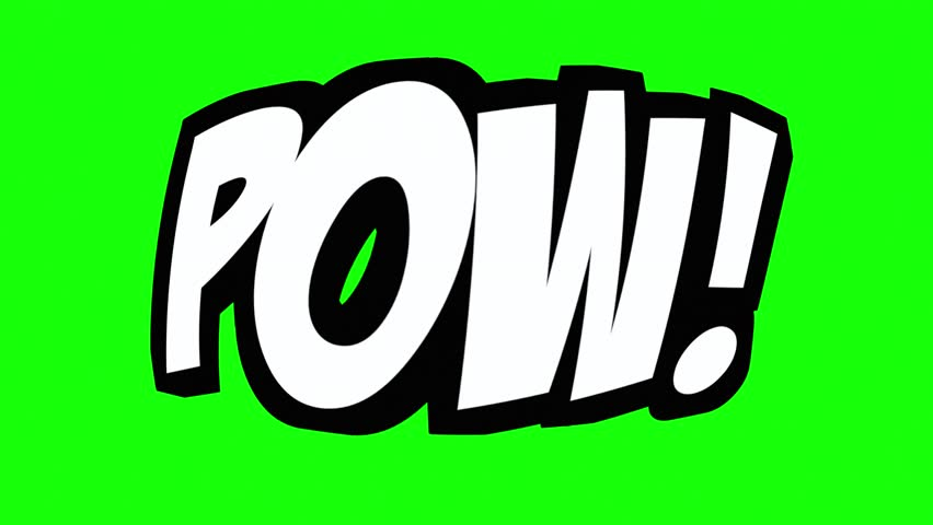 A comic strip speech cartoon animation with the words Pow Bam Wtf Lol. White text, black shadow, green background.