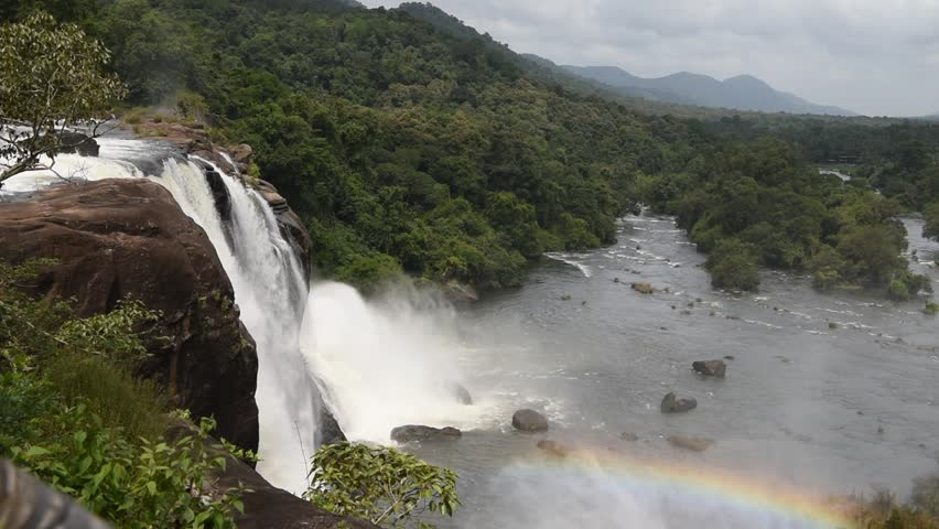 Athirappilly Waterfalls on Chalakudy River at Vazhachal Forest, in Thrissur District of Kerala, India on August 14, 2017. This is the biggest waterfall in Kerala.